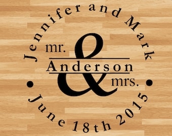 "Dance Floor Decal Just Married Mr and Mrs with First and Last Names and Date. - Large 44"" x 43"""
