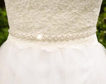 Silver Bridal Sash, Thin Sash, Thin Belt, Rhinestone Pearl Wedding Sash, Pearl Bridal Sash, Silver Wedding Belt, Pearl Wedding Sash - MIA