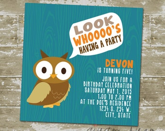 Barnwood Owl Birthday Invitation