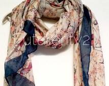 Beige Love Bird Blue Trim Cherry Blossom Summer Scarf / Spring Scarf / Autumn Scarf / Gift For Her / Womens Scarves / Fashion Accessories