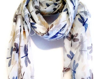 Dragonfly Off White Autumn / Spring Summer Scarf / Gift For Her / Women Scarves / Fashion Accessories