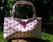 Pink Rose Small Fabric Handbag with internal pocket handmade in the UK