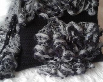 Black & Grey Ruffle Bag