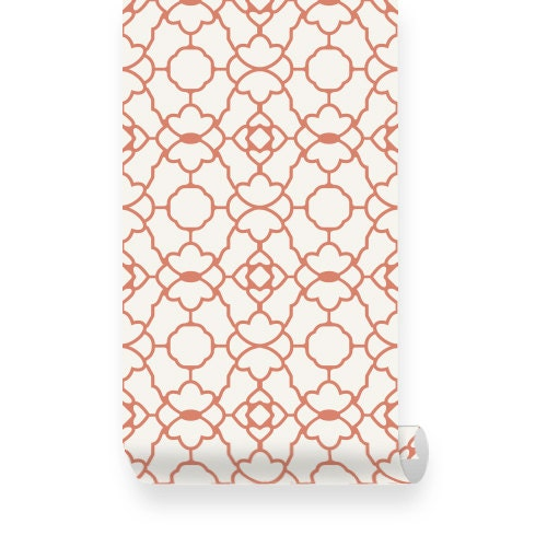 Small trellis pattern orange removable wallpaper peel for Orange peel and stick wallpaper