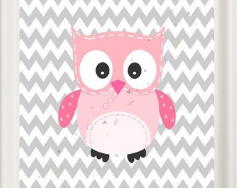 Owl Nursery LOVE Art  Pink and Grey Girl's Room Baby Shower, New Baby