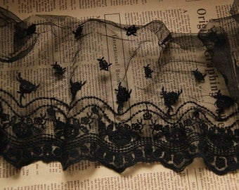 Black Rose Floral Wave Lace Trim Embroidery Tulle Lace Trim 4.33 Inch Wide 1 Yard E8068
