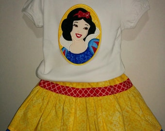 Girls Yellow Apple Snow White Everyday Princess Cameo Boutique Skirt Set Outfit! Twirly Skirt! Embroidered Applique Shirt! 2 3 4 5 6 7 8!