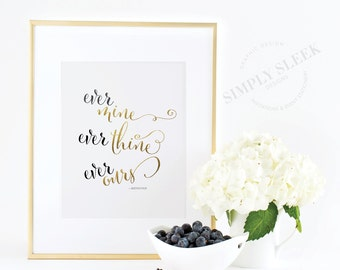 """Love gold foil print. Beethoven - """"ever mine, ever thine, ever ours"""""""