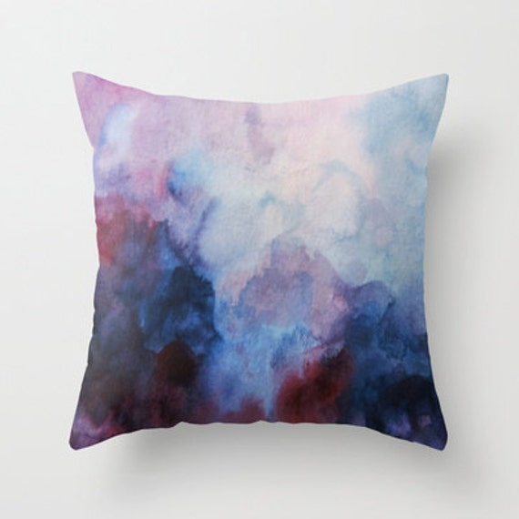 Blue and Purple Watercolor Pillow Throw Pillow by SABartStudio