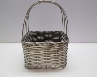 Square silver wire basket