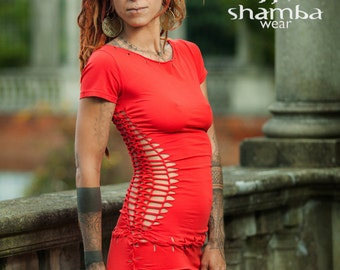 Bright red Spanish dress-braided,shredded,cuts,open,special occasions,summer party,festivals,burning man,psy trance,goa,boho,tribal,hippie.