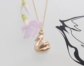 Gold Plated, Simple Swan Pendant, Necklace