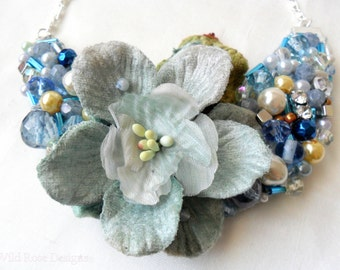 Handmade blue beaded necklace. Statement necklace. Prom necklace. Floral necklace.