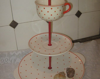 lovely vintage etagere in polka funny orange-red with dots, upcycled