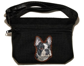 Boston Terrier embroidered dog treat waist bag (treat pouch). For dog shows, training and walking. Great gift for breed lovers.
