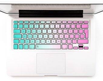 Macbook decal Macbook Pro Keyboard decal Macbook Keyboard Stickers Keyboard decal for Macbook Air Toshiba ombre # Mint green pink