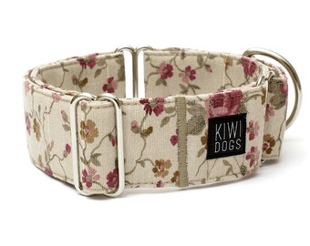 Retro Flower METROPOLITAN martingale dog collar - girly floral retro feminine dog collar