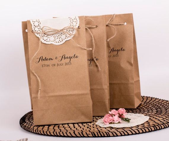 Brown Favor Bags/ Custom Paper Bags/ Wedding Favor Bags/ Rustic ...