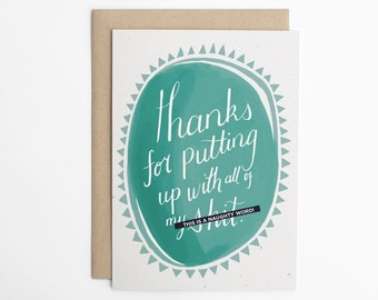 Mother's Day, Father's Day, Thanks For Putting Up With All of my Shit, Card for Best Friend, Card For Wife, Card For Husband/C-241