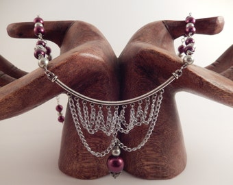 Beaded Wire with Handmade Chain Pendant
