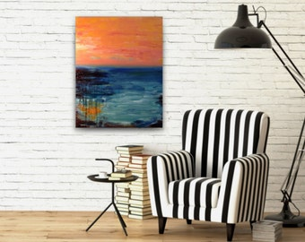24x30 abstract painting,original fine art,acrylic on canvas,gallery wrapped canvas,teal coral abstract,horizon abstract,seascape abstract,