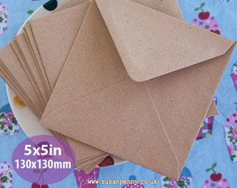 "Kraft Envelopes, 50pk, Brown Flecked Envelopes, 5x5"" Envelopes, Square Kraft Paper Envelopes PSS090"