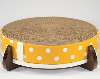 Cat Scratcher and Cat Bed - large round replaceable cardboard insert, Big Yellow Polka Dot fabric cover and handcrafted wood legged base