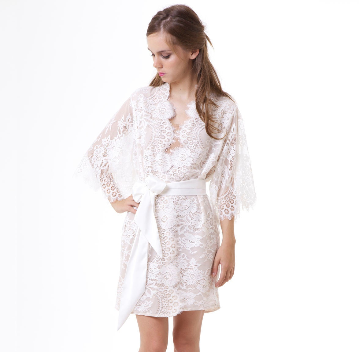 Bridal Robe To Get Ready In: Getting Ready Bridal Lace Robe Floral Ivory With Nude Silk