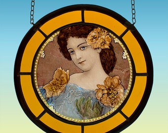 Victorian girl stained glass suncatcher, suncatcher, victorian suncatcher, vintage stained glass, stained glass, victorian, girl, flowers