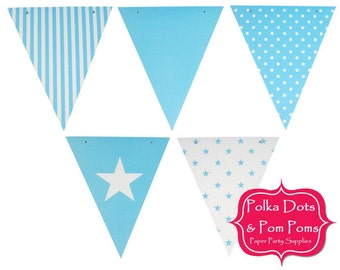 50 Light BLUE Card Stock BUNTING Flags / Pennant / Garland / Birthday Party Decoration Ideas & Supplies / Wedding / Baby Shower / Boy