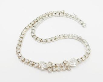 Vintage Rhinestone Necklace - VIntage Rhinestone Jewelry -  Bridal Necklace - Vintage Wedding - Mad Men -  1950s Fashion - Gift For Her