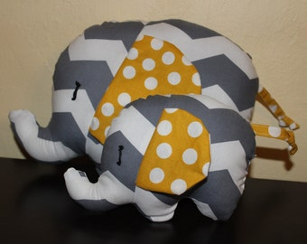 Grey chevron/yellow polka dot mommy and mini stuffed elephant/nursery decor