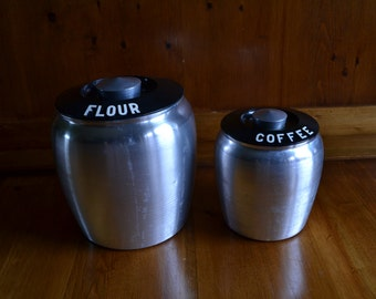 Vintage Kromex Aluminum Flour and Coffee Containers