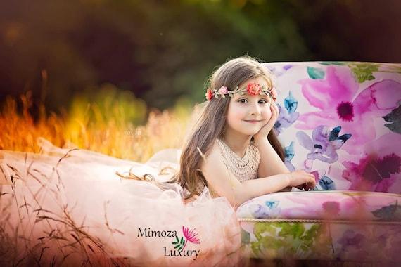 Blush Flower girl dress, blush peach tutu dress princess dress, blush wedding tulle dress, hand knit tutu dress in blush peach pale peach