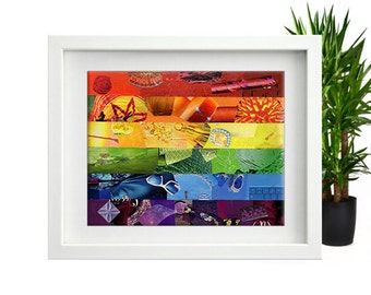 Rainbow pride, Gay flag wall art, Gay pride, Gay art, Mixed media collage art, Bohemian art, wedding gift, Rainbow art