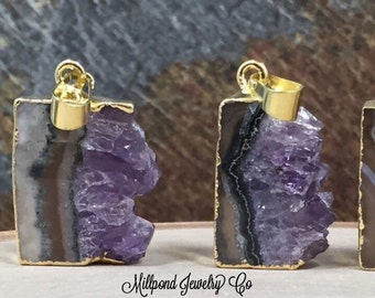 Amethyst Slice, Small Amethyst Slice Pendant, Amethyst Druzy Pendant, 24K Gold, Amethyst Pendant, Only One of Each Available, TINY, PG0446