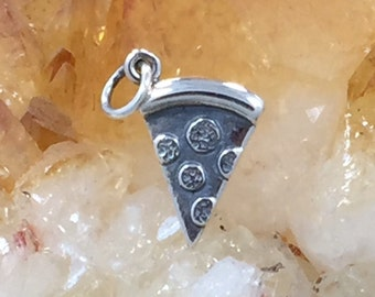 Pizza Charm, Pizza Pendant, Pepperoni Pizza, Food Charm, Sterling Silver, PS01321