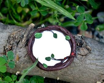 Mirror 5 cm size, protection amulet necklace