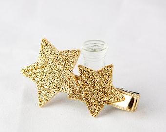 Hair Clip for Kids Girl, Baby Hair Clip, Gold Glitter Star Hair Clip - Gold