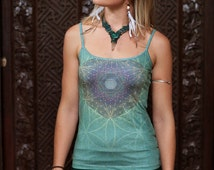 AQUA BLOSSOM SINGLET / Women's singlet top / fairy top / flower of life top / hippy boho top / festival top / goddess top / sacred geometry