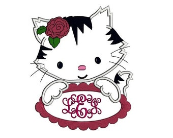 Kitten with a Table Applique Machine Embroidery Digitized Design Pattern  - 4x4 , 5x7, 6x10 -hoops