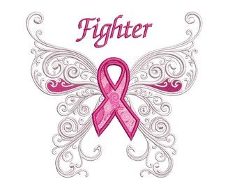 Fighter Breast Cancer Applique Butterfly with Wings Machine Embroidery Digitized Design Pattern  - Instant Download - 4x4 , 5x7, 6x10
