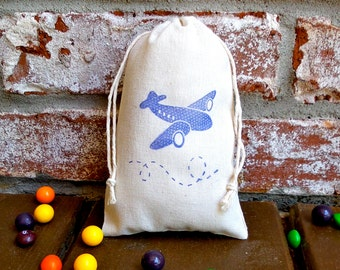 Airplane Hand Stamped Cotton Muslin 4x6 Favor Bag - Great for Aviator, Plane and Kids parties