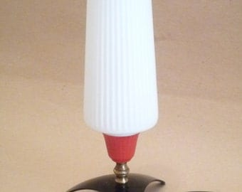 Vintage Mid Century Table Lamp Bedside Lamp 1960s 1970s French Retro funky Lighting White and Clear Glass Lampshade
