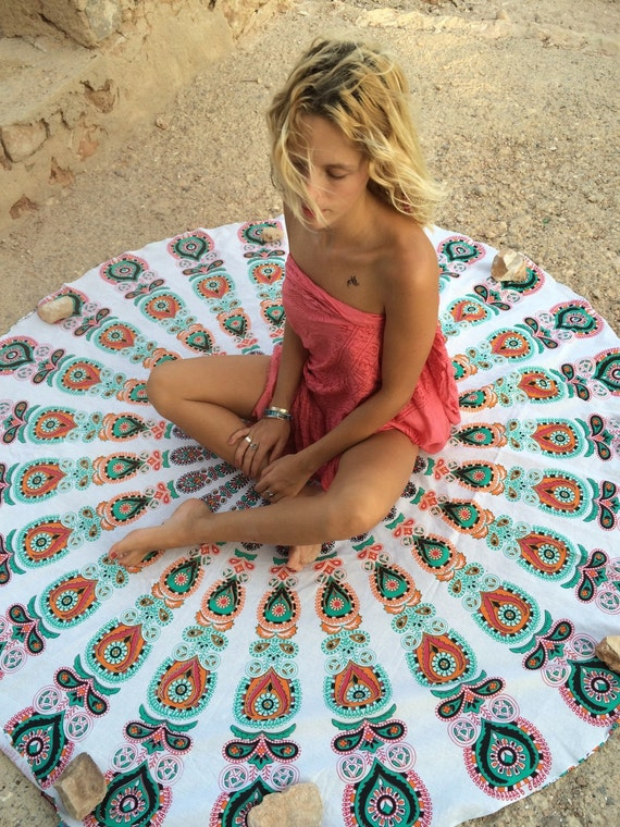 Roundie boho beach mandala blanket