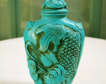 Vintage Chinese Faux Turquoise Snuff Bottle, Resin Composition, Attached Bone Spoon