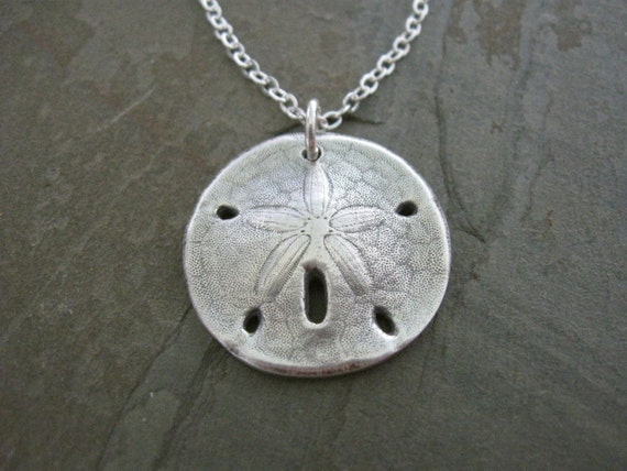 Silver Sand Dollar Necklace Hand Cast From By
