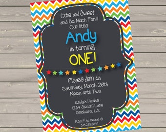 First Birthday Invitation with Primary Colors