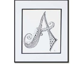 Hand Drawn Monogram, Initial art, Monogram Art, Home decor, Zentangle Letter, Black and White Monogram, Zentangle Monogram,