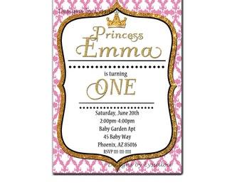 Princess Invitation, Princess Birthday Invitation, Gold and Pink, Princess Party Invitation, Glitter Invitation, Damask, First Birthday, DIY